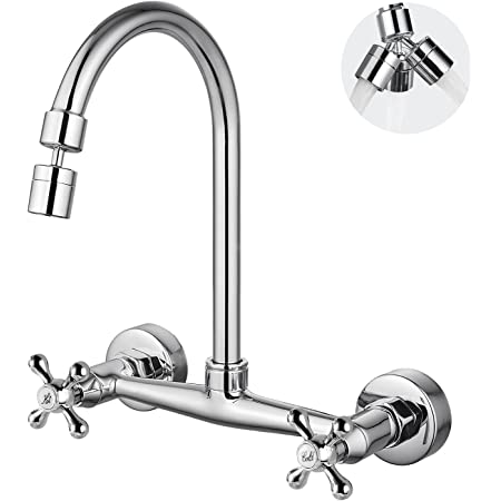 Airuida Chrome Polish Wall Mount Kitchen Sink Faucet 8 Inch Center Double Cross Handles 360 Degree Swivel Spout Kitchen Mixer Tap Commercial