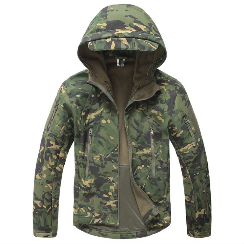 CHZDSB Mantel Army Coat Military Jacke Herren Softshell Wasserdicht Winddichte Jacke Winter Kapuzenmantel M Grün Cp