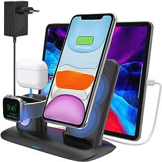 bossgo Cargador Inalámbrico Soporte de Carga para iPhone Apple Watch y Airpods Base de Carga para iPhone SE2/11/11 Pro MA...