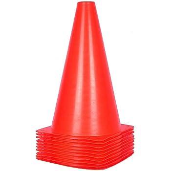 Confezione da 10 pigne da allenamento, coni da traffico da 23 cm per attività all'aperto e eventi festivi - 5 colori (Rossa)