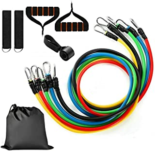 11pcs Set Resistance Bands Workout Exercise,Fitness Stretch Latex Tubes Bands Cord With Pull Ropes,2 Handles,Door Buckle,2...