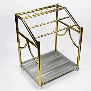 Yxsd Umbrella Stand Hotel Lobby Household Stainless Steel Umbrella Barrel Umbrella Shelf-Standing with Hooks and Drip Tray, Square,504168cm (Color : Gold)