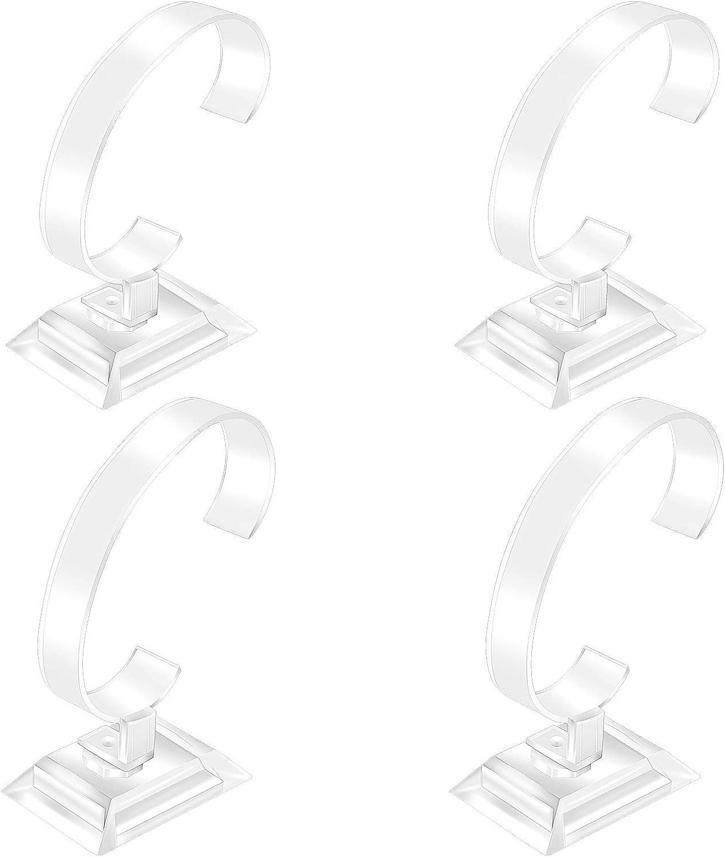 Soporte de Exhibición de Reloj C 4pcs Soportes Organizadores Relojes de Pulsera Transparente Plástico Sostenedor de Exhibición de Relojes para Hogar y Tienda (2 Tamaños)