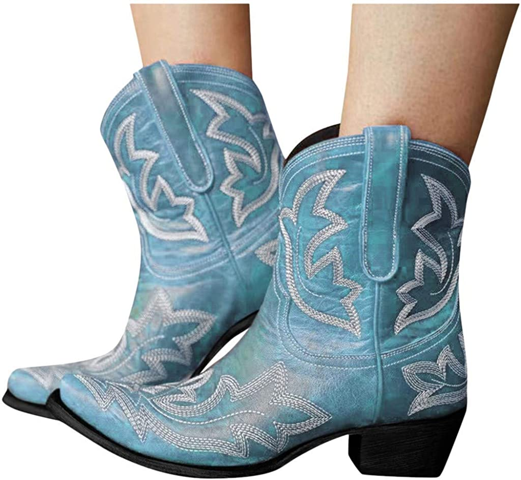 Cyrwrbire Ankle Boots for Women Pointed Mid-Calf Toe Low Heel Wedge Zipper Tassel Fringe Western Cowboy Boots
