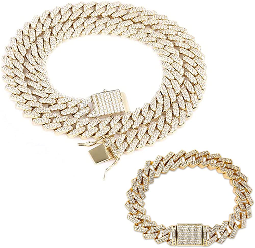 Max 49% OFF Emesly Solid Miami Cuban Link Chain 16 18 Necklace Silver Manufacturer direct delivery Gold