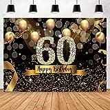Sensfun Happy 60th Birthday Backdrop for Adult Party 7x5ft Bokeh Circle Glitter...