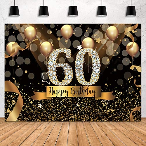 Sensfun Happy 60th Birthday Backdrop for Adult Party 7x5ft Bokeh Circle Glitter Gold Balloon Photography Background Sixty Birthday Black Gold Party Backdrops Diamond 60th Birthday Vinyl Photo Banner
