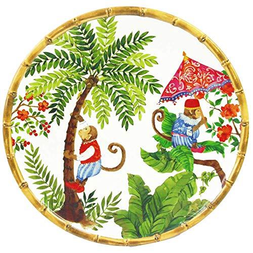 Les Jardins de la Comtesse - Gran Plato Llano de Melamina Pura - Contorno Bambú - Monos de Bali - 28 cm - Coral Rojo y Verde - Servicio de Mesa de la Colección Vajilla Irrompible MelARTmine