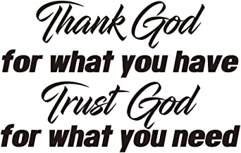 ZSSZ Thank God for What You Have Trust God for What You Need Wall Decals Quotes Art Décor Prayer Church Jesus Pray Lettering Vinyl for Living Room Bedroom