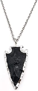 Natural Black Obsidian Arrowhead Crystal Pendant Necklace 22 inches Unisex