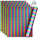 15 Sheets Rainbow Heat Transfer Vinyl Multi-Color Holographic Stripe Heat Transfer Vinyl, 12 x 10 Inch for Iron on HTV DIY Clothing T-Shirts Hats Bags Decoration Supplies