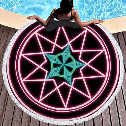 NAID Mandala ronde strandhanddoek met kwastje yoga mat sprei tapijt deken absorberende microvezel 2020 stijl, model A