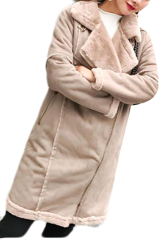 Cromoncent Women's Winter Suede Lapel Fleece Zipper Midi Parka Jackets