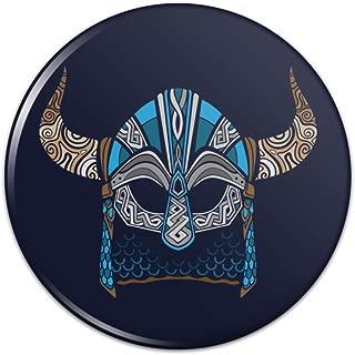 Nordic Viking Warrior Helmet with Horns Pinback Button Pin Badge - 1