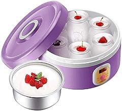 XYHAD Auto Yogurt Maker, Includes 6 Glass Jars and Lids,Stainless Steel Liner,Purple Household Natto Machine