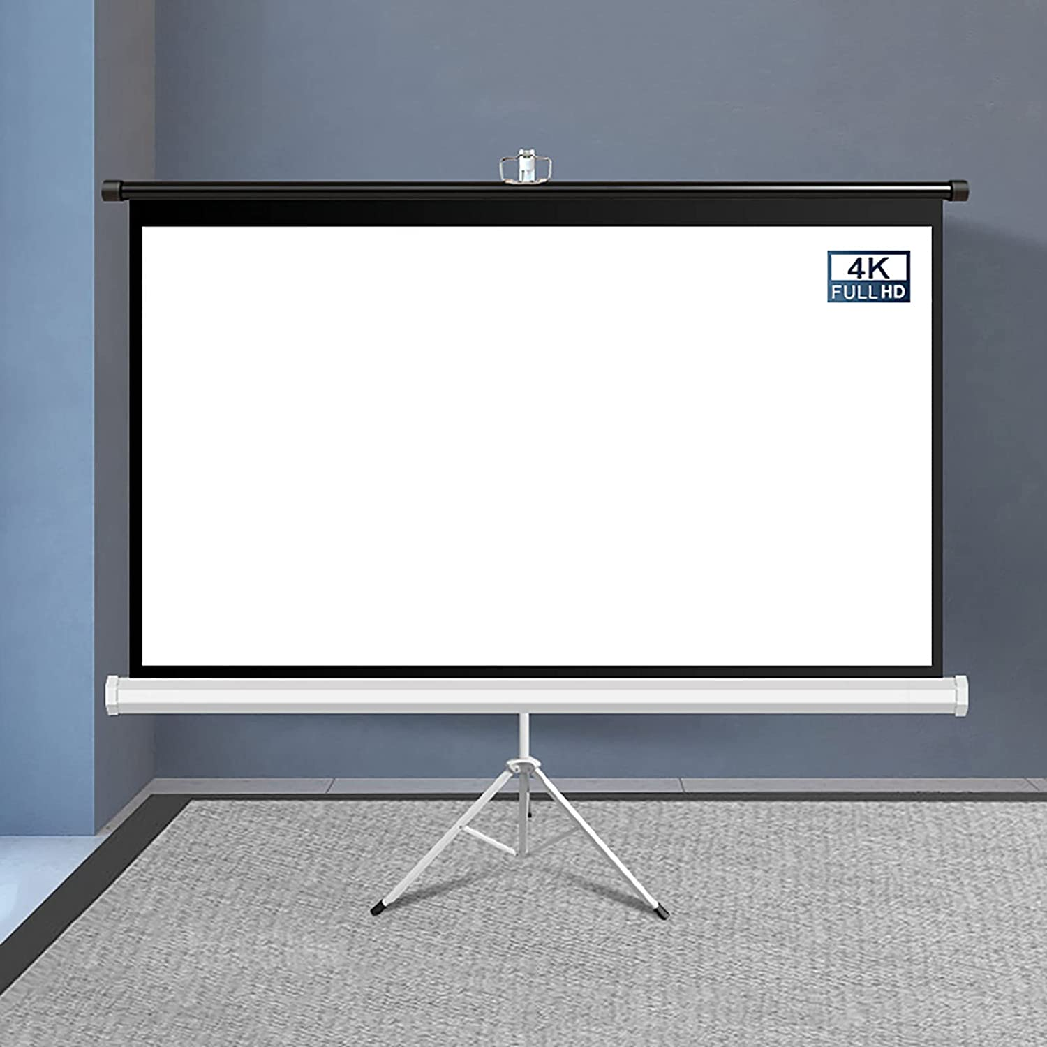 YFF-Corrimano Projector Screen with Stand 4:3/16:9 HD 4K Wrinkle-Free Foldable Tripod Projection Screen Portable Height Adjustable Projection Screen, for Office, Movie, Home Theater