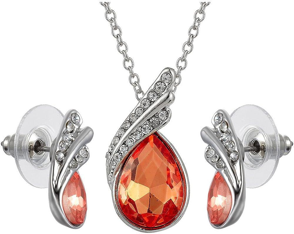 RIZILIA Teardrop Jewelry Set Pendant with 17