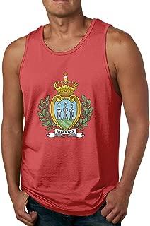 Rigg-vest Coat of Arms of San Marino Mens Underwaist Round Collar Black Tank Top