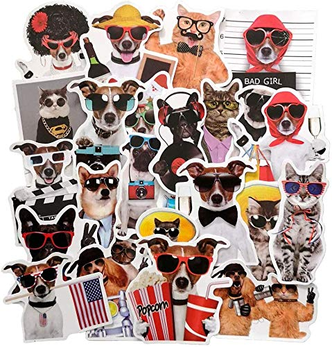 Funny Dog and Cat Stickers, Pet with Sunglasses Sticker Decal for Laptop, Water Bottles, Cars, Teens, Women, Kids, Girls, 38pcs Vinyl Waterproof Sticker Pack, No Repeat(Dog and Cat Stickers)