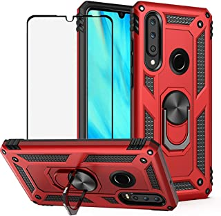 BestShare for Huawei P30 Lite Case & Tempered Glass Screen Protector, Rugged Hybrid Armor Anti-Scratch Shockproof Kickstand Cover & Magnetic Car Mount Ring Grip, Red