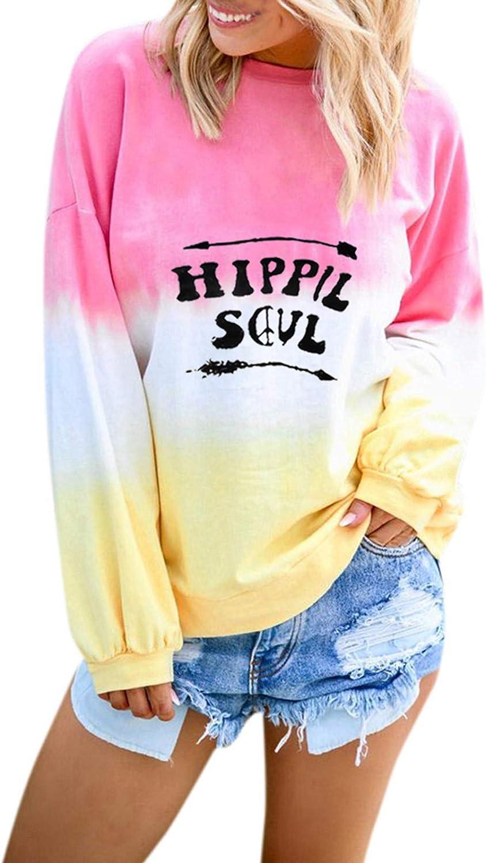 Womens Long Sleeve Tops,Womens Crewneck Sweatshirts Autumn Thermal Long Sleeve Tops Fashine Tie Dye Print Blouses