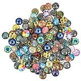 Cabochon Cupola 200PCS Cabochon Vetro Mosaico con Schienale Piatto 16 * 5mm, Cabochon Vetro Rotondo Mosaico Ciottoli Decorativi Pietre per Foto Gioielli Ciondolo Vetro Artigianali