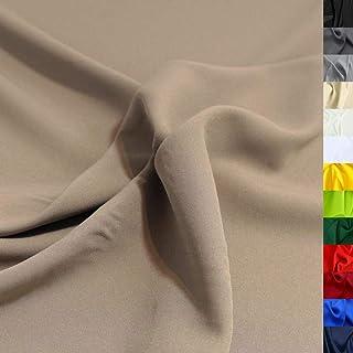 TOLKO Modestoff | Dekostoff universal Stoff zum Nähen Dekorieren | Blickdicht, knitterarm | 150cm breit Meterware Bekleidungsstoffe Dekostoffe Vorhangstoffe Basteln Patchwork Khaki Beige
