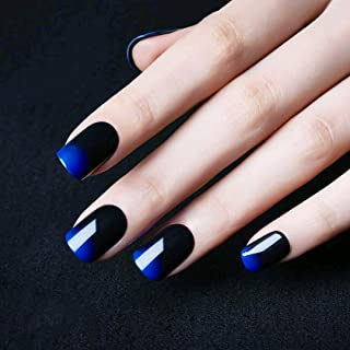 24 Pcs Black Full Cover Short False Gradient Jewelry Blue Nails Gel Nail Art Tips Sets for Halloween Decals,Decoration