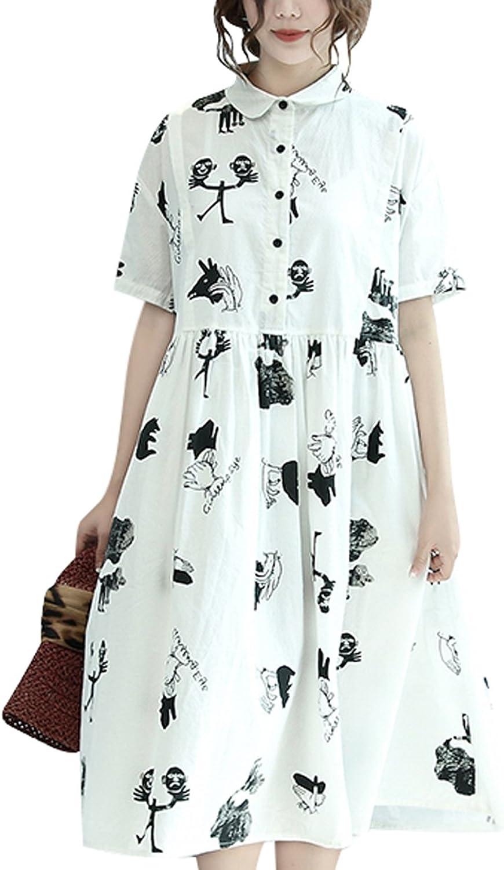 Zoulee Women's or Girl's High Waist Big Hem Printed Dress