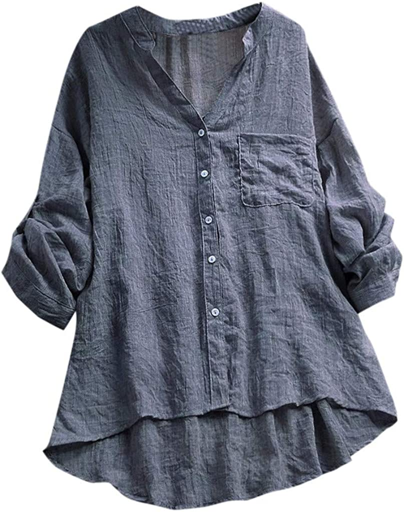TOTOD Latest item Women Shirt Tops Cotton Linen Long Super sale Slee Through Casual See