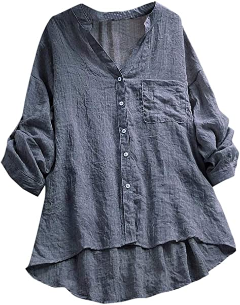 TOTOD Women Shirt Tops Cotton Linen Casual See Through Long Sleeve V Neck Pocket Blouse Tunic Top