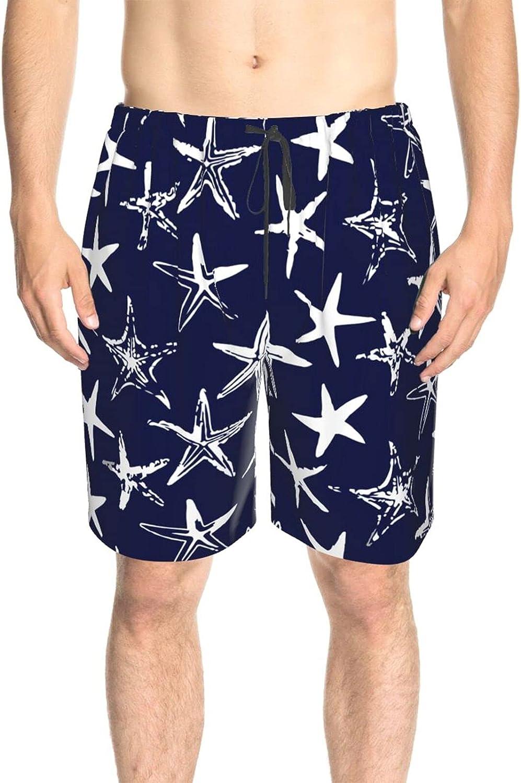 JINJUELS Men's Swim Trunks White Starfish Blue Sea Beach Board Shorts Drawstring Elastic Athletic Beach Short with Pockets