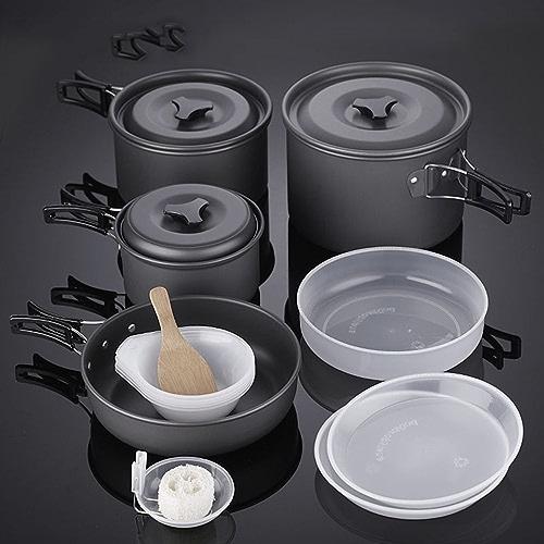 Lygod 10pcs Kit de cuisine portable équipeHommest de plein air Pique-nique de cuisson antiadhésif Marmite de camping randonnée Cookware Set Batterie de cuisine Pot Set pique-nique