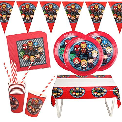 Yisscen Juego de Vajilla Vengadores Fiestas Infantiles Decoracion Cumpleaños Superheroes Vajilla incluir Bandeja Vasos Mantel Servilletas para Cumpleaños niña niño(10 Invitados)