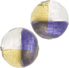 Murano Glass Bead, 4 Color w/Gold & Silver Foil, Round Bead, 12mm, Purple, 2 Pieces
