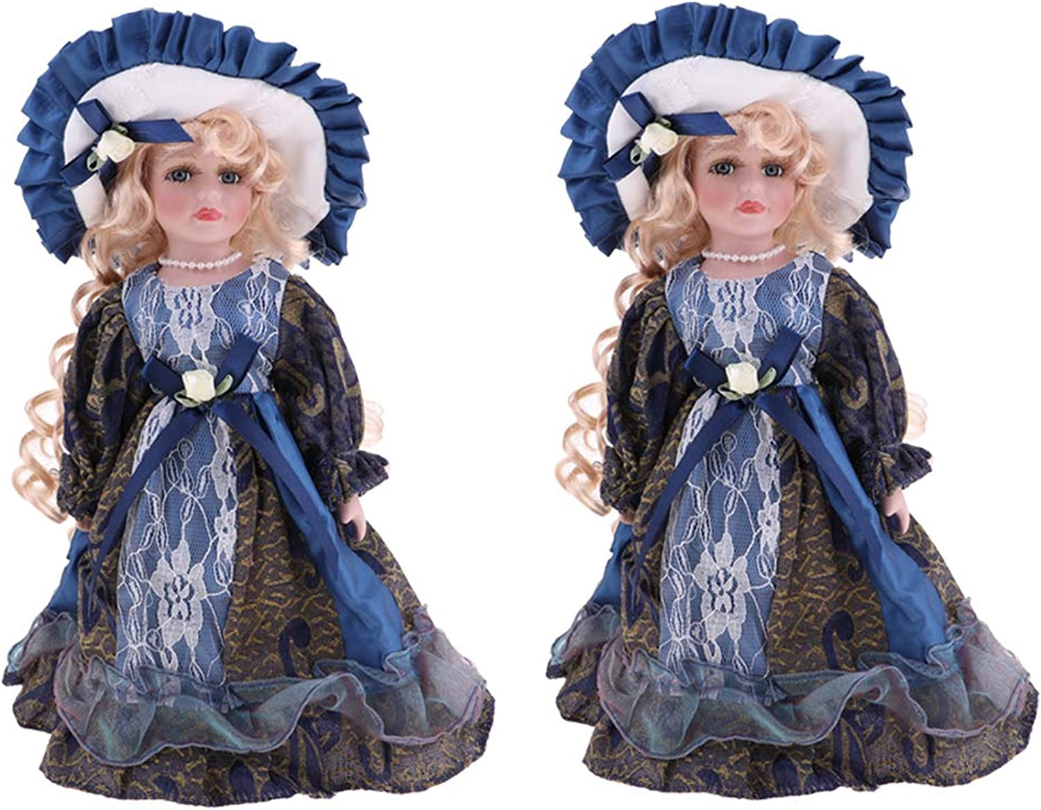 Fityle Elegant Victorian Porcelain Doll with Wooden Stand Russia Girl Action Figures Crafts for Dollhouse Life Scenes Decor 2pcs