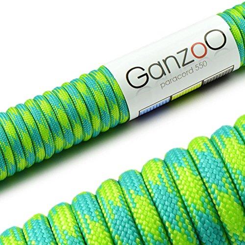 Ganzoo Paracorde 550 Corde, pour Bracelet ou Collier de Chien, 15m, Turquoise/Vert