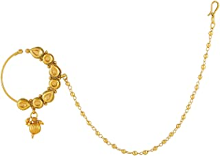 Accessher Gold Plated Kundan Nose Ring/Nath with Chain for Women