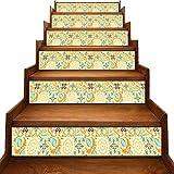 JiuYIBB - Pegatinas para pared de escalera marroquí, formas ovaladas, curvas con colores vivos inspirados en la naturaleza,...