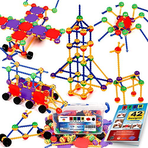 STEM Master Building Toys for Kids Ages 4-8 - STEM Toys Kit w/ 176 Durable Pieces, Full-Color Design Guide, Reusable Toy Storage Box - Educational Gifts for Girls & Boys