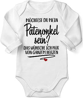 Mikalino Babybody mit Spruch für Jungen Mädchen Unisex Langarm Möchtest du Mein Patenonkel Sein | handbedruckt in Deutschland | Handmade with Love