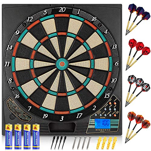 meicent Electronic Dart Board Soft Tip Dartboard Set LCD Display with 12 Darts 100 Tips 8 Players 18 Games 159 Options