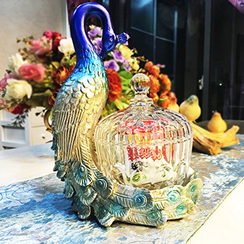 MYITIAN glazen snoeppot Canister sieradendoos Duidelijk glas ornamenten Europese creatieve sieraden doos de Pauw thuis decor A