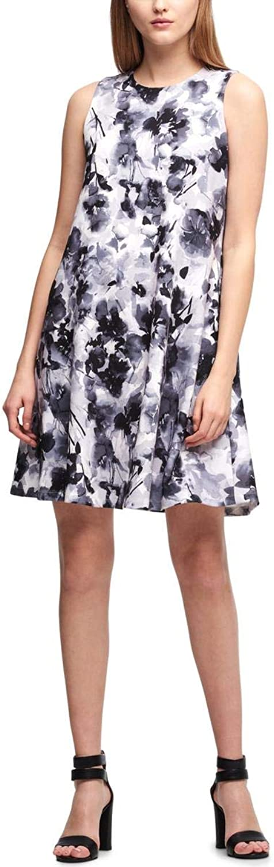 DKNY Womens Sleeveless Floral Shift Dress