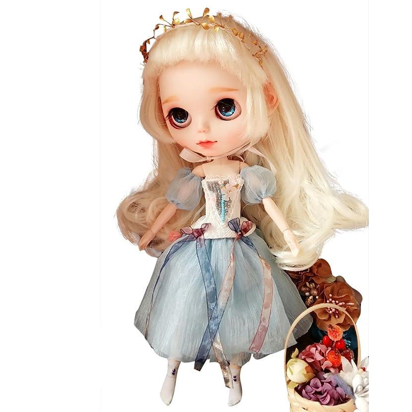 免除する記念トチの実の木Dolly Para ブライス/AZONE/リカちゃん/桃子共通 ドール衣装 ビーズドレス 春夏 (水色)