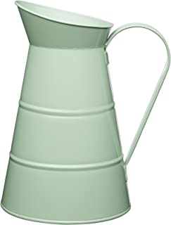 Living Nostalgia Vintage Large Metal Water Jug Pitcher Milk Creamer English Sage Green 2.3 Litres 77.77fl oz