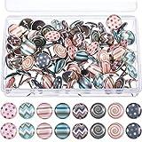 Tachuelas de Moda Decorativas para Mapas de Pared, Fotos, Tablero de Anuncios o Tableros de Corcho, 8 Patrones Diferentes, 80 Piezas (Multicolor B)