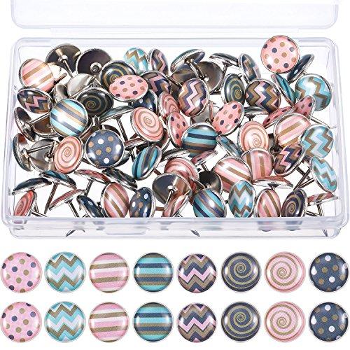 Kreativ Fashion Push Pins Dekorative Reißzwecke für Landkarten, Fotos, Pinnwand oder Korkplatten, 8 Verschiedene Muster, 80 Stücke (Mehrfarbig B)