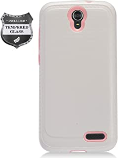 Eaglecell - Compatible with ZTE ZMax Champ Z917, AVID 916, ZMax Grand, Grand X3, Warp 7 - Brushed Style Hybrid Case + Tempered Glass Screen Protector - CS4 Pink/White