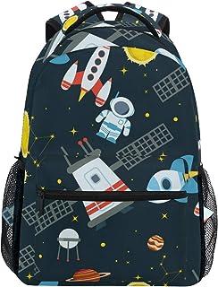 Mochila escolar de gran capacidad con diseño de cohetes de astronauta